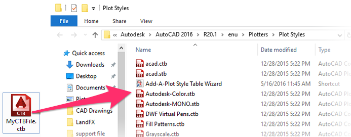 Saving CTB Files to the Plot Style Manager