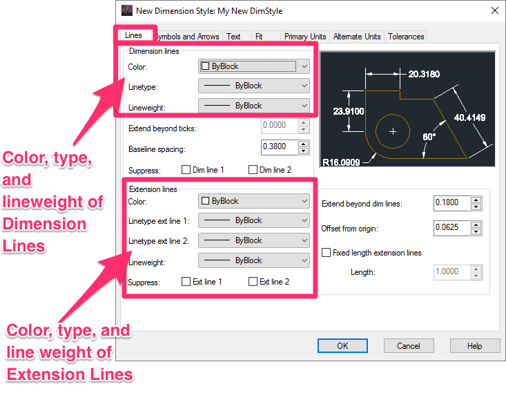 Dimension Style Dimstyle Settings