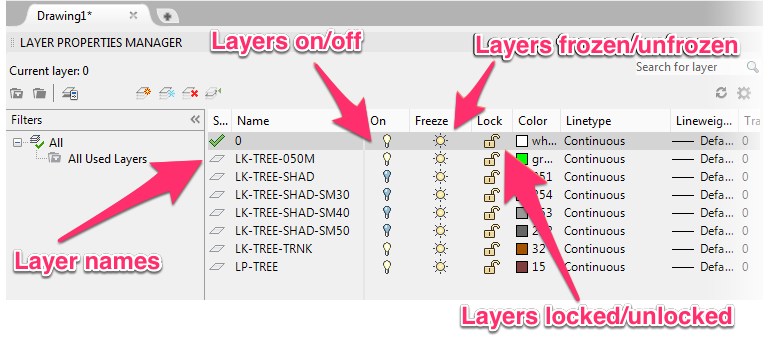 autocad layer, freeze layer