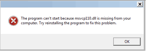 The Program Can't Start Because msvcp110 dll is Missing from