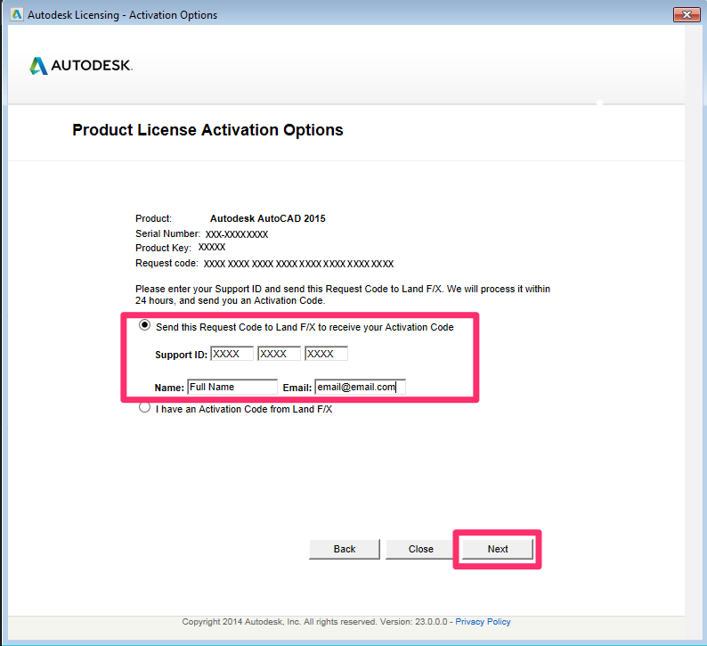 License (Activate) F/X CAD 2015