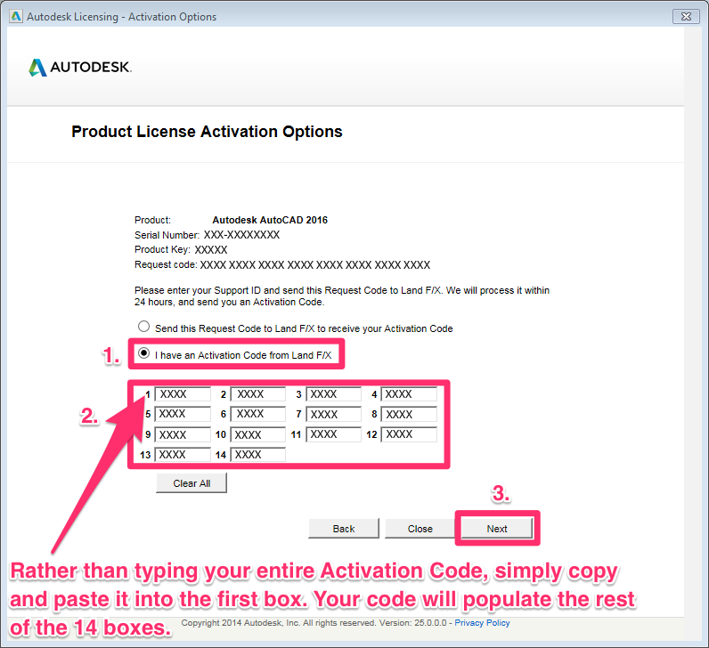 autocad 2014 change product key