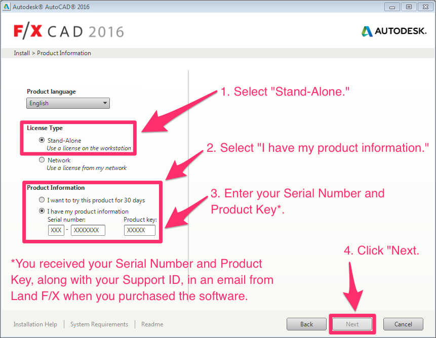 product key for autocad 2016