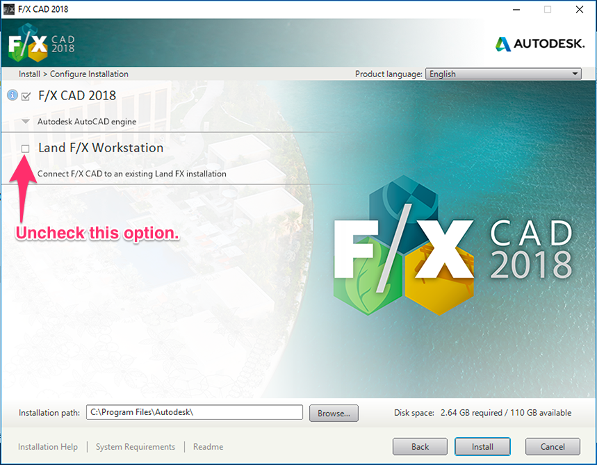Install F/X CAD 2018