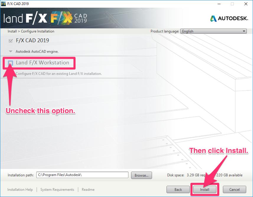 Install F/X CAD 2019