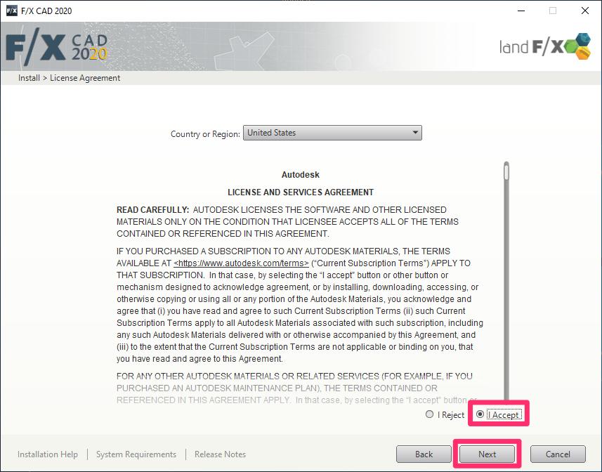 Install F/X CAD 2020