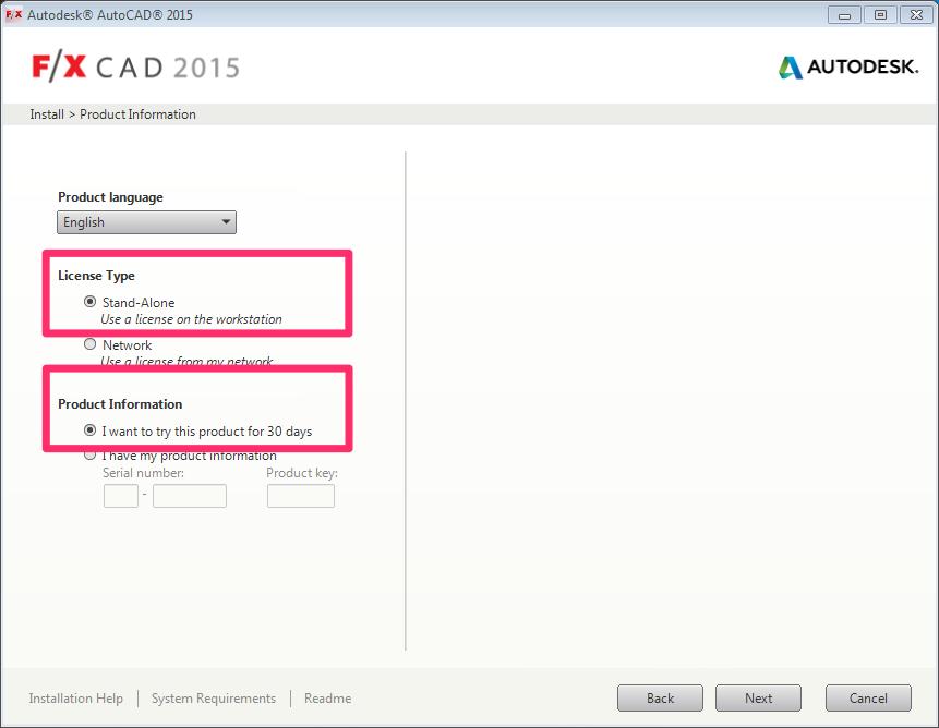 Install F/X CAD 2015