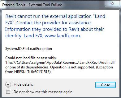 External Tool Failure (Revit Add-in) Revit Cannot Run the External